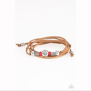 "Silver Red ""Find Your Way"" Suede Bracelet"